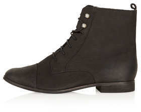 Topshop Black leather lace up ankle boots with brogue detail. 100% leather. do not wash.