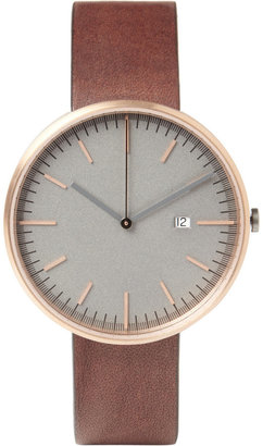 Uniform Wares 203 Series Rose Gold-Plated Steel Wristwatch