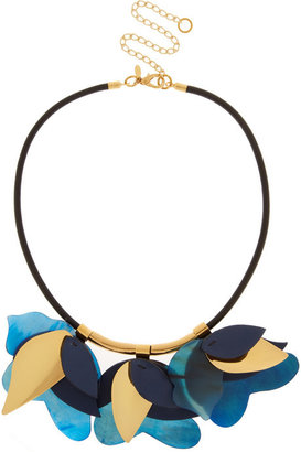Marni Gold-tone, leather and horn necklace