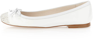 Stuart Weitzman Dotsme Studded Ballerina Flat, White