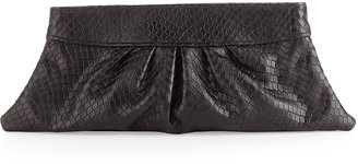 Lauren Merkin Louise Stamped Leather Clutch Bag, Black