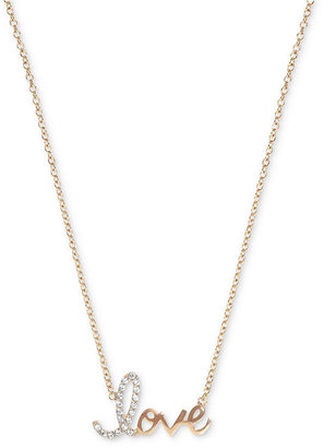 Crislu Necklace, 18k Gold over Sterling Silver LOVE Cubic Zirconia Pendant Necklace (1/3 ct. t.w.)