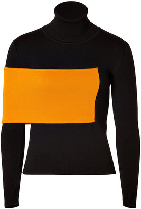 J.W.Anderson Wool Blend Turtleneck in Black/Orange