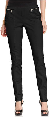 Style&Co. Pants, Curvy-Fit Exposed-Zipper Pull-On