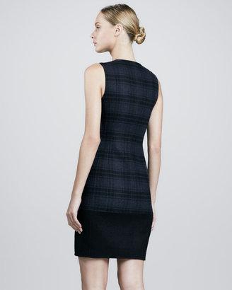 Akris Plaid Wool Flannel Dress, Denim/Black