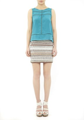 Nicole Miller Ikat Embroidered Mini Skirt