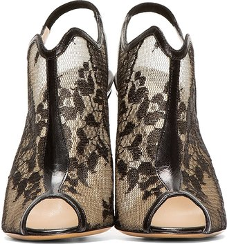 Nicholas Kirkwood Black Lace Peep Toe Heels