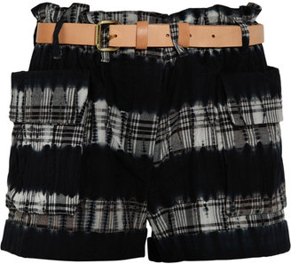 A.L.C. Hand-dyed plaid cotton cargo shorts