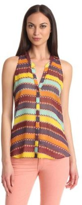 Rory Beca Women's Printed Button Front Sleeveless Stand Collar Woven Top