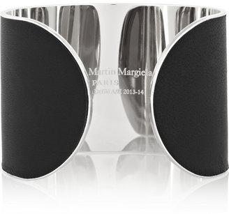 Maison Martin Margiela Set of two silver-tone leather arm cuffs