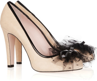RED Valentino Tulle-embellished leather pumps