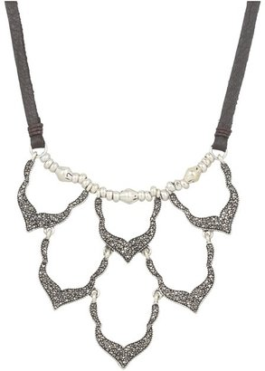Lucky Brand Pave Bib Necklace on Leather (Silver) - Jewelry