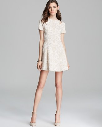 AQUA Dress - Slit Short Sleeve Jacquard