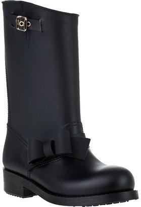 RED Valentino Bow Trim Rain Boot Black Rubber