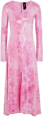 Paula Knorr Pink Printed Sequinned Jersey Midi Dress