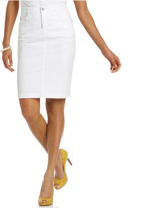 Charter Club Skirt, Denim Pencil, White Wash
