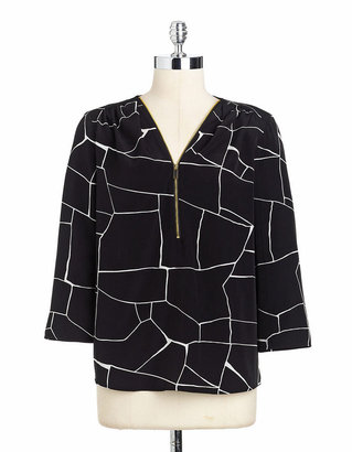 Vince Camuto Animal Print Zip Front Blouse