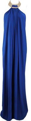 Michael Kors Jewel Neck Jersey Halter Gown