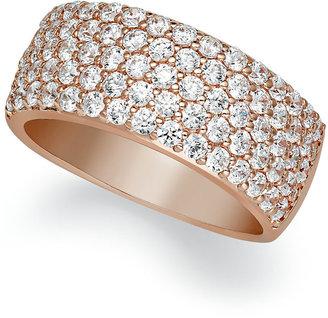 Arabella 14k Rose Gold over Sterling Silver Ring, Swarovski Zirconia Pave Band