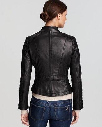 KORS Zip Detail Moto Leather Jacket