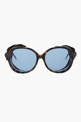 Thom Browne Dark Brown Leather-Trimmed Tokyo Tortoiseshell Sunglasses