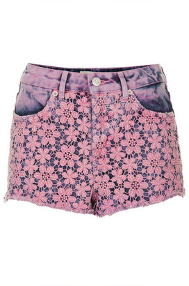 Topshop MOTO Pink Crochet Hotpants