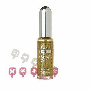 Kiss Nail Artist Paint & Stencil, Gold Glitter
