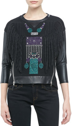 Milly Sparkle-Robot Leather Top