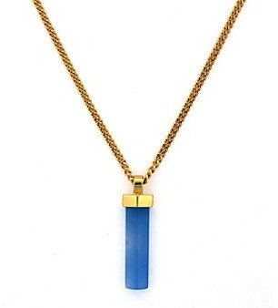 Vince Camuto Vince CamutoTM Love Stoned Goldtone and Blue Agate Small Pendant Necklace