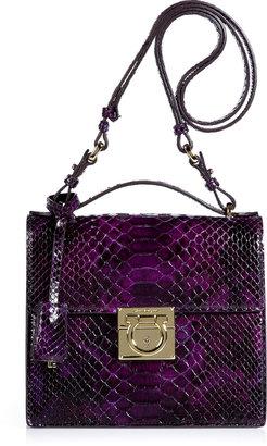 Salvatore Ferragamo Purple Python Mya Shoulder Bag