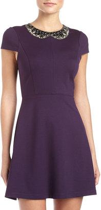 Ali Ro Ponte Embellished-Collar Dress, Grape
