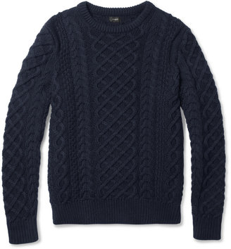 J.Crew Cable-Knit Cotton Crew Neck Sweater