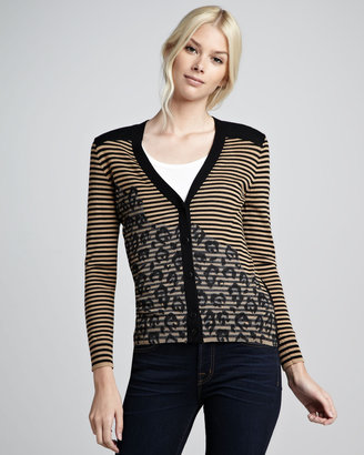 Tory Burch Brady Mix-Pattern Cardigan