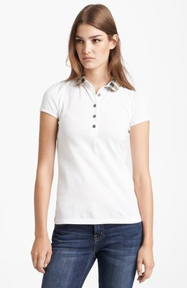 Burberry Check Collar Polo