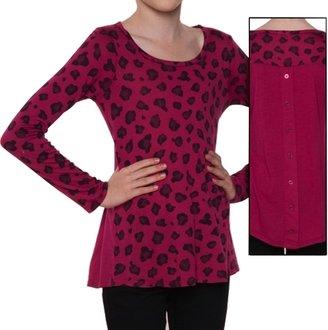 Splendid Girl's Leopard Long Sleeve Top - Raspberry