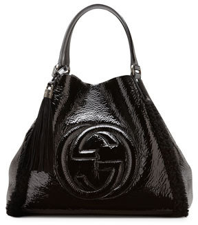 Gucci Soho Crushed Patent Leather Shoulder Bag, Black