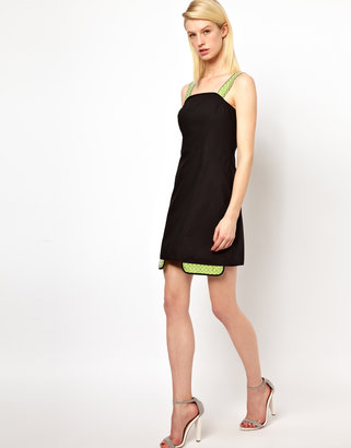 Chalayan Grey Line Collage Dress with Neon Strap