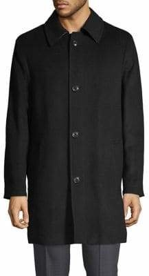 London Fog Single-Breasted Wool-Blend Overcoat