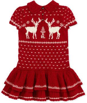 Ralph Lauren Short-Sleeve Reindeer-Knit Dress, Red, Sizes 4-6X