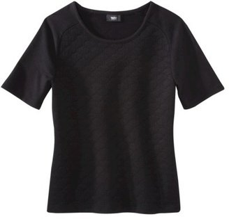 Mossimo Women's Quilted Shortsleeve Shirt -Black