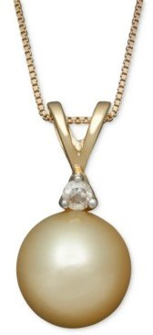 Belle de Mer Golden South Sea Pearl (8mm) and Diamond Accent Pendant Necklace in 14k Gold