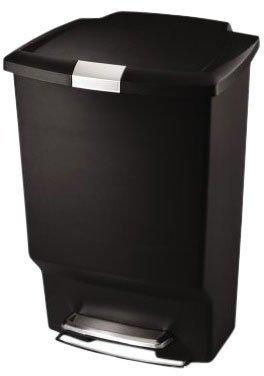 Simplehuman Rectangle Step Trash Can, 45L / 12 Gal-Black
