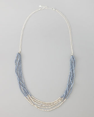 Nakamol Multi-Chain Beaded Necklace, Silver Color