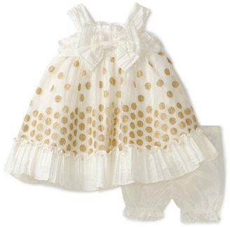 Nannette Baby-girls Infant Taffeta Dress with Embroidery Overlay