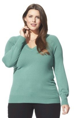Mossimo Women's Plus-Size Long-Sleeve V-Neck Pullover Sweater - Assorted Colors