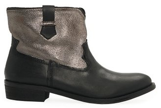 MANGO Outlet Metallic Panel Leather Ankle Boots