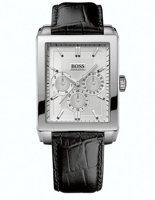 HUGO BOSS Men's Attraction Silver-Tone & Leather Chronograph Watch