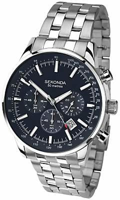 Sekonda 1008.27 Men's Chronograph Bracelet Strap Watch, Silver/Dark Blue