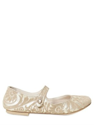 Pepe Jeans Damask Printed Leather Ballerina Shoes