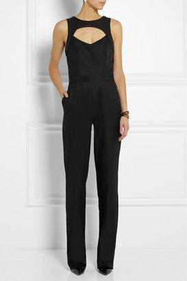 CAPITOL COUTURE BY TRISH SUMMERVILLE Jacquard-trimmed twill jumpsuit
